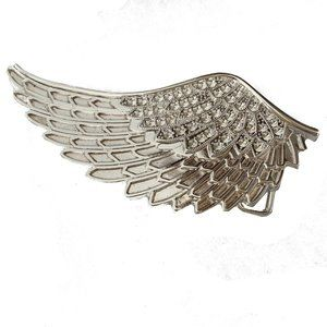 Large Silver Wing Belt Buckle Angel Bird Feather